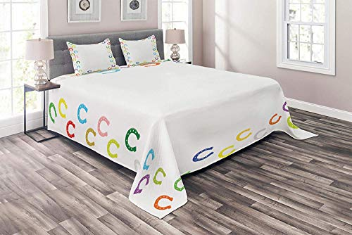 (Lohebhuic Horseshoe Coverlet Set Queen Size Horseshoe Border Frames Clipart Animal Successful Colors Children Artwork Print 3 Piece Decorative Quilted Bedspread Set with 2 Pillow Shams )