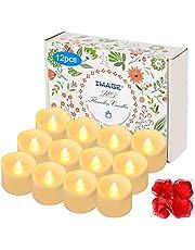 Świece LED 12 sztuk podgrzewaczy z timerem na 6 godzin na 18 godzin z migoczących świec bezpłomieniowych z 100 płatkami róż