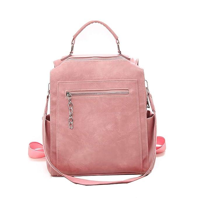 Mochila de mujer universitaria moda mochila PU bolso de mujer,Pink,Onesize: Amazon.es: Ropa y accesorios