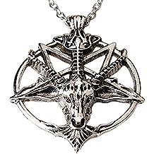 Inverted Pentagram Sabbatic Goat Head Pendant Necklace Baphomet LaVeyan LaVey Satainism
