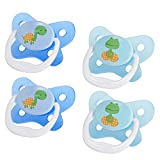 Dr. Brown's PreVent Contour Pacifier, Stage 3 (12m+), Polka Dots Blue, 4-Pack