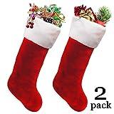 Ivenf 2 Pack 19'' Classic Red & White Extra Thick Plush Mercerized Velvet Christmas Stockings Gift/Treat Bags