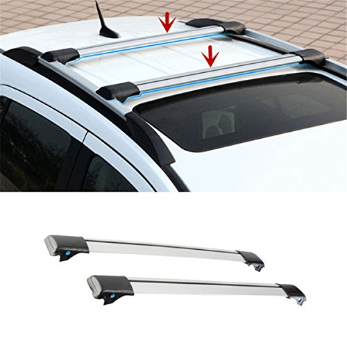 FMtoppeak One Set of 2Pcs Aluminium Alloy Roof Rails Cross Bar Luggage Rack Crossbar for 2014 UP JEEP Renegade