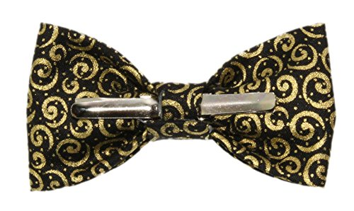 Toddler Boy 4T 5T Black With Gold Scrolls Clip On Cotton Bow Tie by amy2004marie by amy2004marie (Image #3)