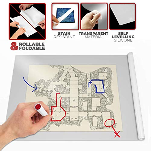 (Battle Mat - DND D & D Game 36 X 24 - Transparent/Foldable/Portable/Instantly Lays Flat - Dominate RPG Tabletop Gaming w/ Anti-Stain Role Playing Digital Map Board - Dry Erase Markers - Warhammer 40k)