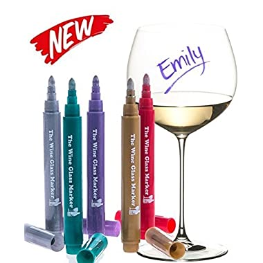 The Original Wine Glass Markers - (Set of 5 Wine Markers) – Vibrant Colors - Wine Glass Charms – Fun Wine Accessories – Write on any glassware - Easy Erasable - 100% Satisfaction Guarantee
