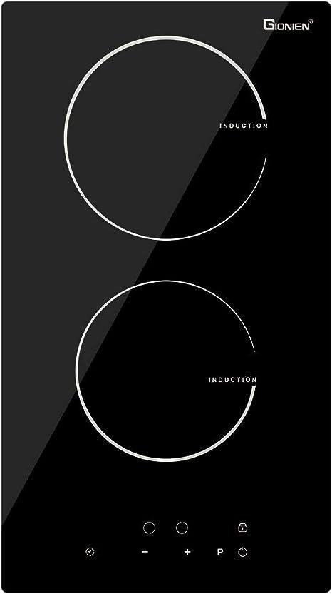 GIONIEN Domino - Placa de inducción de 30 cm con doble zona de cocción eléctrica, control táctil, cristal negro, 3500 W, GITS352G3