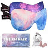 PrettyCare 3D Sleep Mask (New Design - Aurora Purple and Blue) Eye Mask for Sleeping - Contoured Face Mask Silk - Blindfold with Ear Plugs,Travel Pouch - Best Night Eyeshade for Men Women Kids