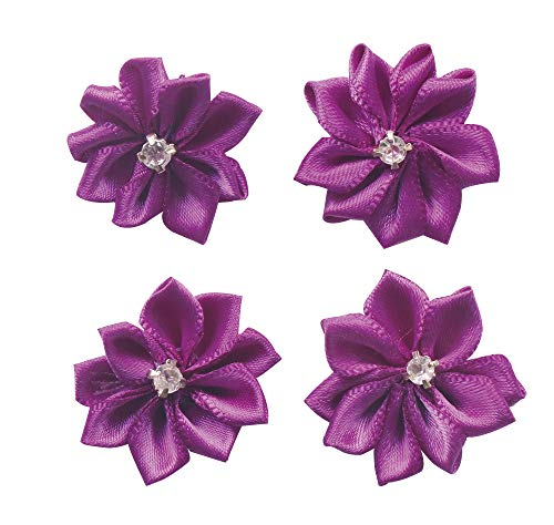 YAKA 60pcs Purple Satin Ribbon Flowers Bows Rose W/Rhinestone Appliques Craft Wedding Ornament ()