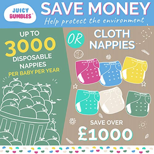 Set of 6 Reusable Nappies 6 Washable Bamboo Nappy Inserts Washable Cloth Nappies 100/% Eco Friendly Nappies 1 Roll of 100 Bamboo Flushable Nappy Liners Non-Disposable Nappies Free Wet Bag