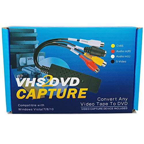 Format Digital Converter - VHS to Digital DVD Converter Adapter,Lvozize Video Capture Grabber Device,Transfer S-Video RCA VCR Hi8 V8 Camera Game to DVD with Easy to Use Software, Work with Windows 7/8/10/XP