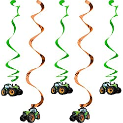 Creative Converting 318059 5 Count Tractor Time Hanging Decorations, Multicolor