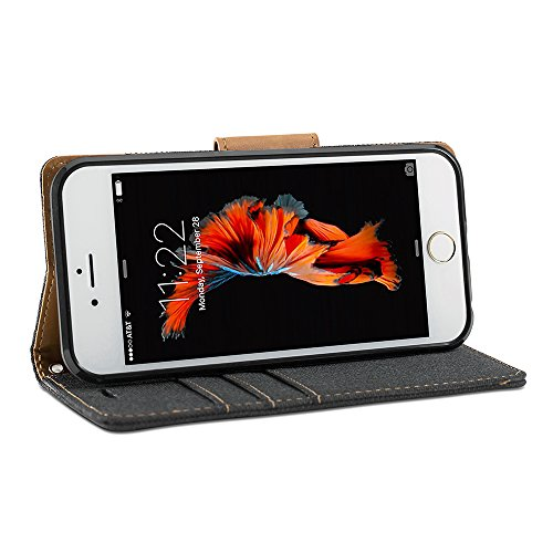 iPhone 6s Coque, GMYLE Wallet Case Classic pour iPhone 6s - Noir PU cuir Slim Stand Housse Etui