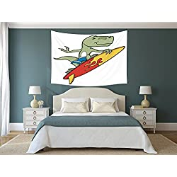 iPrint Polyester Tapestry Wall Hanging,Reptile,Funny Surfing Trex in Water on Plain Background Safari Flame Cool Fictional Artsy,Green Red Yellow,Wall Decor for Bedroom Living Room Dorm