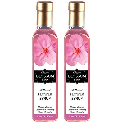 - 2 Pack All Natural Cherry Blossom Flower Syrup for Cocktails & Sodas