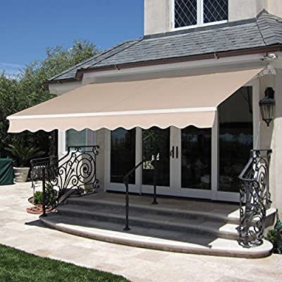 Best Choice Products 98x80in Retractable Aluminum Patio Deck Awning Cover, Canopy, Sunshade -Beige