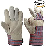OZERO 2210 72 Pairs Pack Cowhide Work Gloves, Cow Split Leather Working Glove for Men and Women - Good for Woodworking/Farm/Logging/Handling/Construction - One Size Fit Most