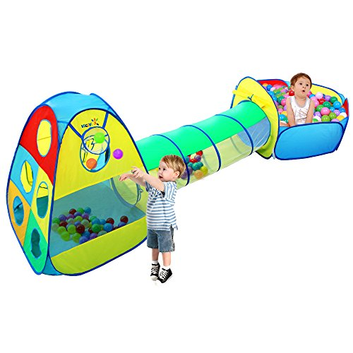 Viciviya Kids Play Tent with Tunnel and Ball Pit 3 in 1 Pop up Play House Toys...
