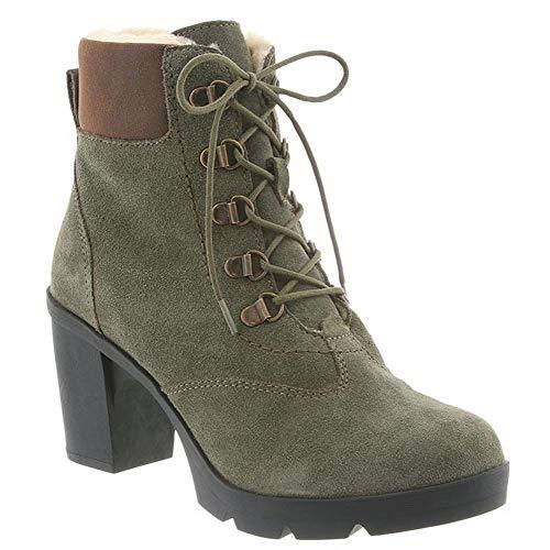 BEARPAW Women's Marlowe Snow Boots, Olive Suede, Wool, Sheepskin Fur, Rubber, 9.5 M