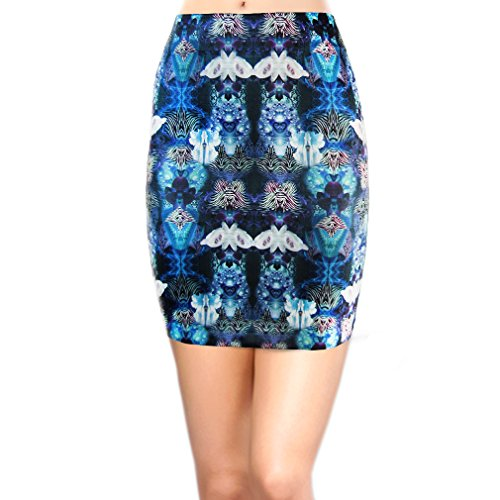 Basico Women's Stretch Seamless Printed Bodycon Mini Skirts (Fantasy butterfly)