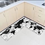Infinidesign 2 Piece Kitchen Rubber Backing Non-Slip Bath Rugs Runner Doormat Set - Retro Monochrome Wood Grain World Map Runner Carpet Set - 15.7''x23.6''+15.7''x47.2''