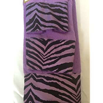 Amazon.com: 3 Piece Bath Towel Set- Black Purple Zebra