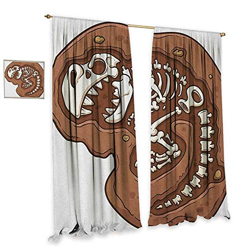 - homefeel Dinosaur Window Curtain Drape T-Rex Fossil in The Ground Clip Art Style Dead Bones Archeology Prehistory Theme Customized Curtains W108 x L84 Brown White