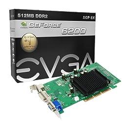 Evga Geforce 6200 512 Mb Ddr2 Agp 8x Hdtvdvivga Graphics Card, 512-a8-n405-kr