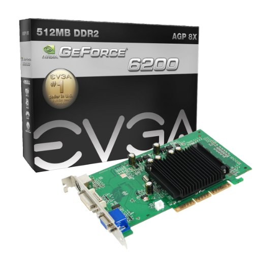 EVGA GeForce 6200 512 MB DDR2 AGP 8X HDTV/DVI/VGA Graphics Card, 512-A8-N405-KR -