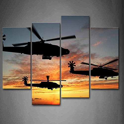 Three helicopters fly in sky sunset glow wall art painting for Home decor uae