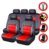 CAR PASS 11 Pieces Leather Universal Car Seat Covers Set - Blqack and Red
