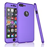iPhone 7 Plus Case,Tekcoo [T360 HY] Ultra Thin Full Body Coverage Protection Scratch Proof Hard Slim Hybrid Cover Shell With Tempered Glass Screen Protector Skin For iPhone 7 Plus(5.5 inch) [Purple]