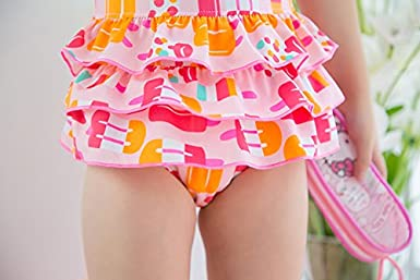 MOROM Little Girls Pink Bow 1 Piece Swimsuit
