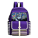 XTQI Children's New Style 3D Printing School Bag,African American Black Woman Abstract Graffiti Light Weight Backpack Purple