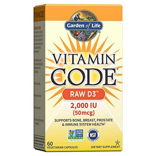 Garden of Life Vitamin D, Vitamin Code Raw D3, Vitamin D 2,000 IU, Raw Whole Food Vitamin D Supplements with Chlorella…
