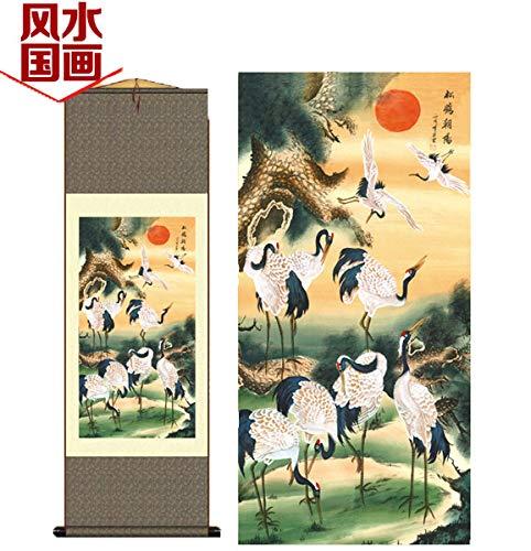 Grace Art Asian Wall Scroll, Happy Sunning Cranes