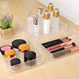 Kootek 4 Pack Large Size Desk Drawer Organizer Tray Rectangle Plastic Bathroom Organizers Kitchen Utensils Silverware Gadgets Trays Dividers Bins for Dresser Cosmetic Makeup Tools Office Cabinets