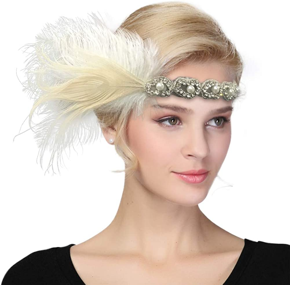 Vintage Feather Headdress Flapper Headpiece Women Party Fancy Dress Headwear