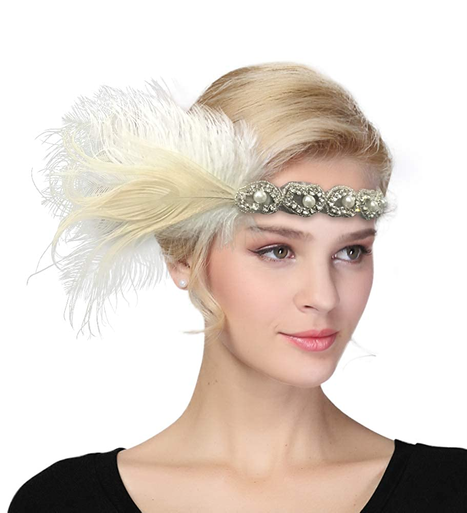1920s Flapper Headband, Gatsby Headpiece, Wigs Womens Vintage 1920s Great Gatsby Flapper Headband Feather Wedding Party Headpiece $7.46 AT vintagedancer.com