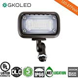15W Outdoor LED Flood Security Lights, Waterproof Landscape Lighting, 50W PSMH Equivalent, 1370 Lumens, 3000K Warm White, 120-277V, 1/2'' Knuckle Mount, UL-Listed DLC4.2 Qualiified, 5 Years Warranty