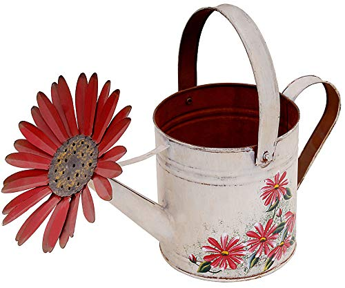 Waroom Home Daisy Antiqued/Rustic Metal Spring Garden Watering Can Metal Planter Flower Pot Decorative Pot Succulent Plant Container for Indoor or Outdoor (White)