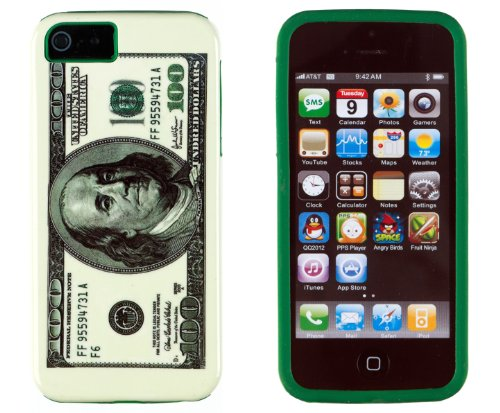 DandyCase 2in1 Hybrid High Impact Hard Hundred Dollar Bill Pattern + Green Silicone Case Cover For Apple iPhone 5S & iPhone 5 + DandyCase Screen Cleaner