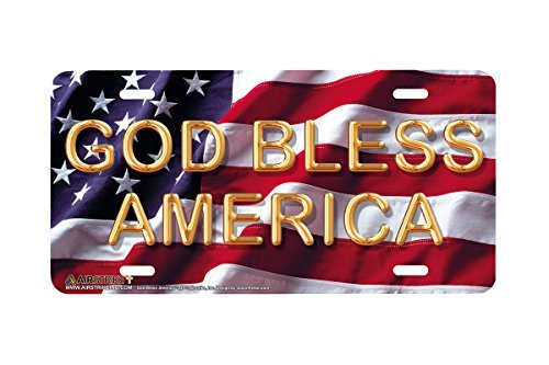 Novelty License Plate Frame Tag for Men God Bless America American Flag Front Decorative Car Tag Covers Chrome Plate Frame