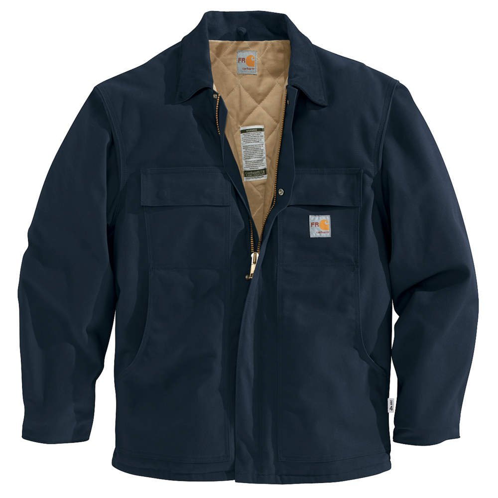 3 Carhartt FR XL Flame Resistant Navy Blue Long Sleeve Safety Stripe Shirt