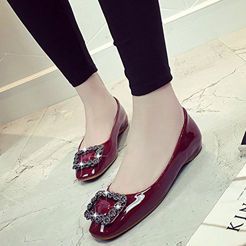Azbro Plano Mujer Tacón Falsos Altura Negro Diamantes Cuadrada de Aumentada Zapatos Puntera aIaqCw1r