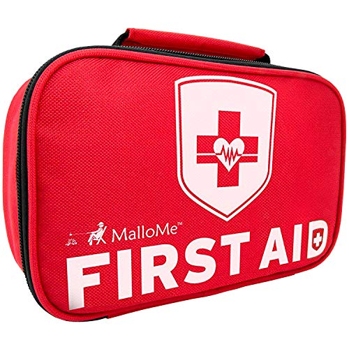 MalloMe First Aid Kit For Car, Travel, Home, Businesses, Hiking, Camping, Baby - 353 Pcs Best In Medical Tactical Survival Emergency Supplies Kits + BONUS Small Mini Compact 1st Aid Med Pouch Bag 52Pc (Swiss Safe 2 In 1 First Aid Kit)