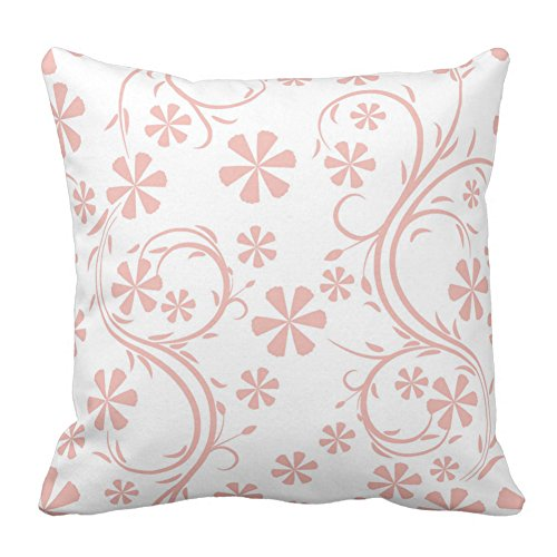 (Floral Design Peach Pink and White Flower Pattern Pillow Case Cushion Covers Decorative Home Decor Throw Pillow Covers, 20X20 Inch)