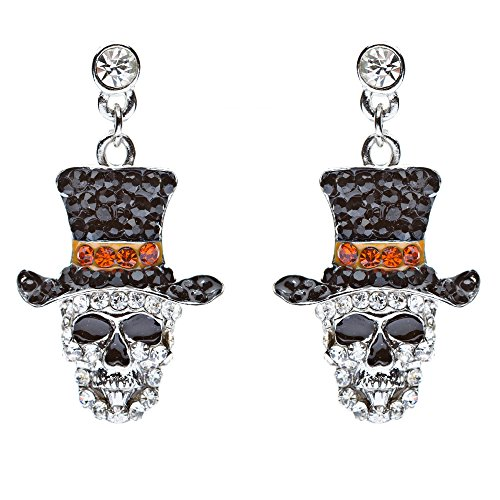 Halloween Costume Jewelry Dazzle Crystal Rhinestone Skull Hat Dangle Earrings