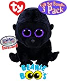"TY Beanie Boos George (Black Gorilla), Coconut (Monkey) & Kipper (Kangaroo) Gift Set Bundle with Bonus ""Mattys Toy Stop"" Storage Bag - 3 Pack"