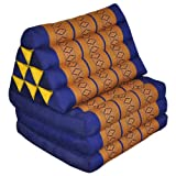Thai mattress 3 folds with triangle cushion, blue/yellow, relaxation, beach, pool, meditation garden (82103)